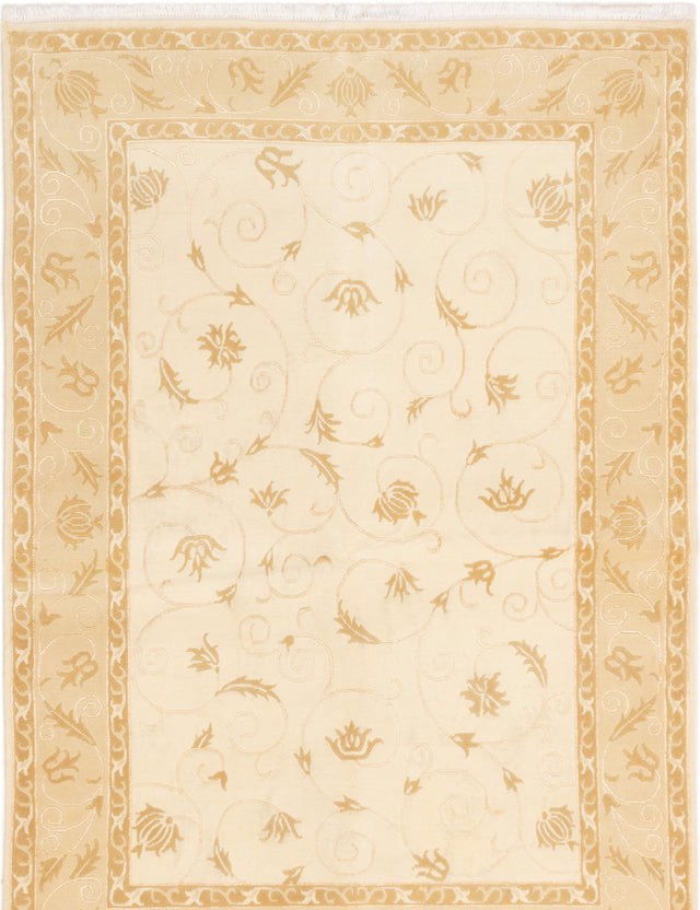 Hand-knotted  Carved  Transitional Karma Area rug  Cream 5.7 x 8