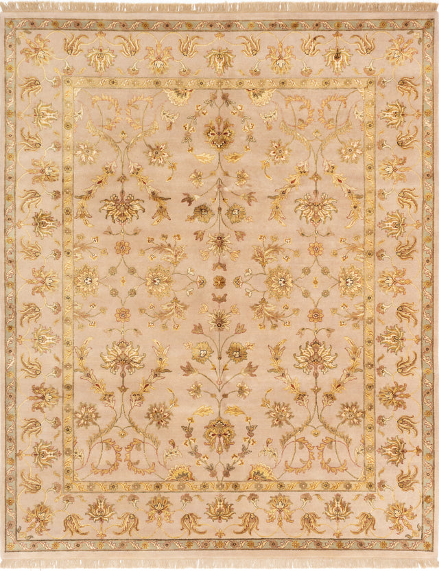 Hand-knotted Indian Bordered  Traditional Harrir-Select Area rug  Tan 8 x 10