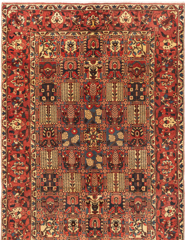 Hand-knotted  Bordered  Traditional Bakhtiar Area rug  Dark Copper 6.9 x 9.1