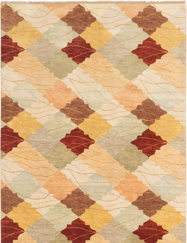 Hand-knotted Afghan Casual  Transitional Finest-Ziegler-Chobi Area rug  Light Green, Tan 6.8 x 9.11