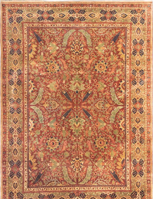 Hand-knotted Indian Bordered  Traditional Mirzapur Area rug  Dark Brown 10 x 13.1