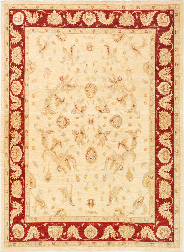 Hand-knotted Afghan Bordered  Floral Chobi-Finest Area rug  Ivory 9 x 12