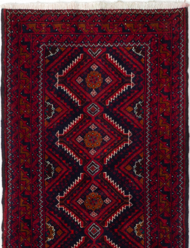 Hand-knotted  Bordered  Persian Finest-Baluch Runner rug  Dark Red 1.11 x 8.4