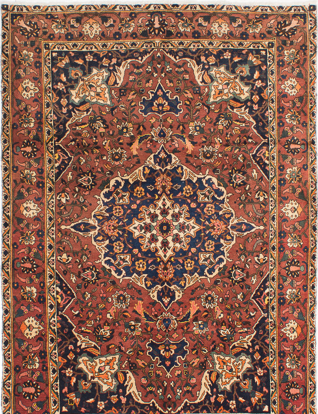 Hand-knotted  Bordered  Traditional Bakhtiar Area rug  Dark Red 7 x 10