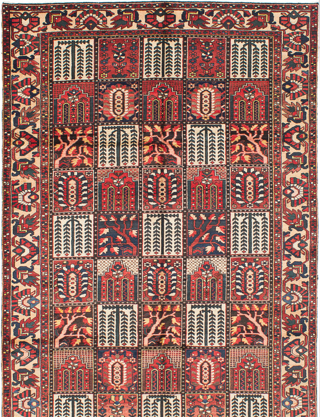 Hand-knotted  Bordered  Traditional Bakhtiar Area rug  Dark Red 6.7 x 9.1