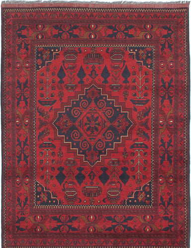Hand-knotted Afghan Bordered  Tribal Finest-Khal-Mohammadi Area rug  Red 5 x 6.7
