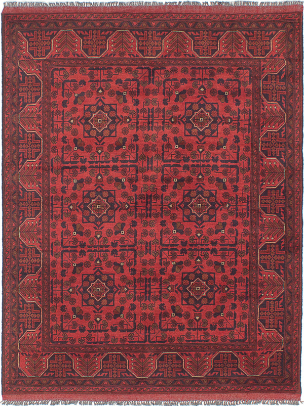 Hand-knotted Afghan Bordered  Tribal Finest-Khal-Mohammadi Area rug  Red 4.11 x 6.3