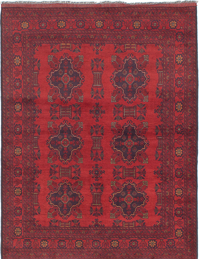 Hand-knotted Afghan Bordered  Tribal Finest-Khal-Mohammadi Area rug  Dark Red, Red 5.2 x 6.8