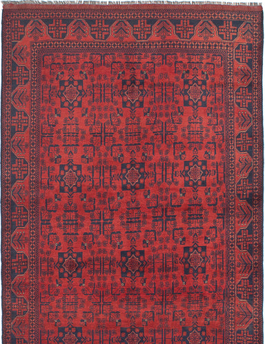 Hand-knotted Afghan Bordered  Tribal Finest-Khal-Mohammadi Area rug  Red 5.7 x 8.9