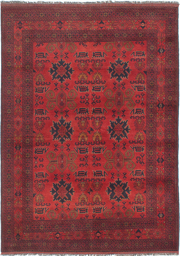 Hand-knotted Afghan Bordered  Tribal Finest-Khal-Mohammadi Area rug  Red 5.6 x 7.1
