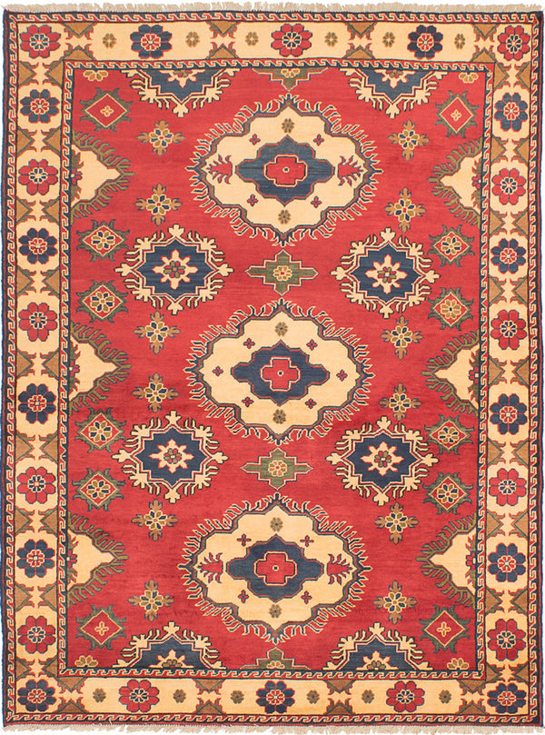 Hand-knotted Afghan Bordered  Traditional Finest-Kargahi Area rug  Red 5.1 x 7.8