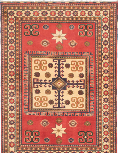 Hand-knotted Afghan Bordered  Traditional Finest-Kargahi Area rug  Red 5.8 x 7.1