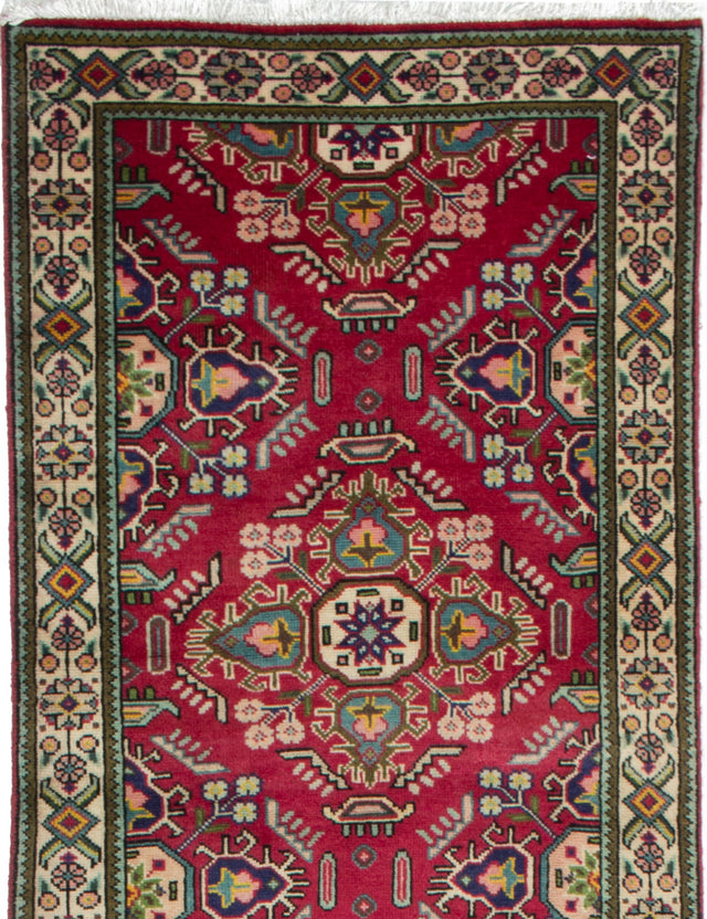 Hand-knotted  Bordered  Persian Tabriz Runner rug  Red 2.9 x 12.4