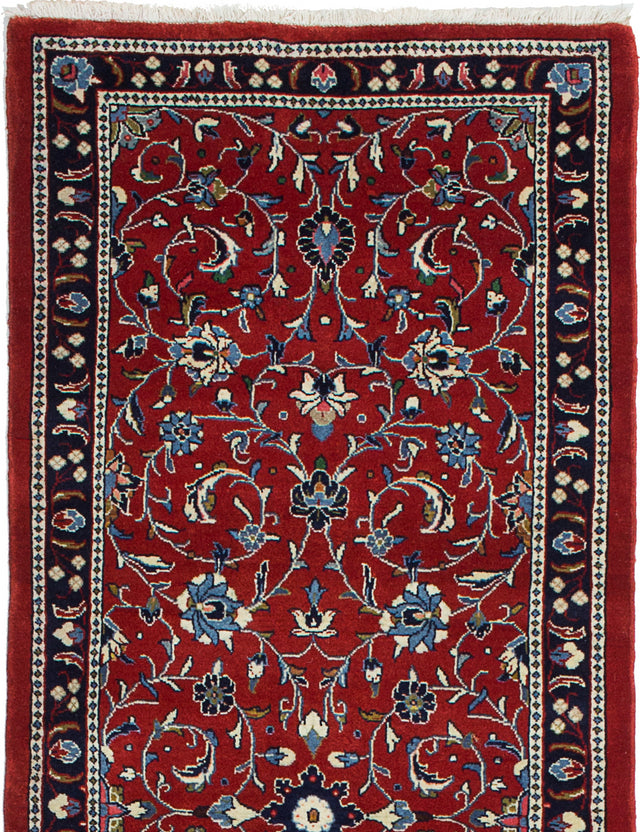 Hand-knotted  Bordered  Traditional Sarough Runner rug  Red 2.9 x 7.4