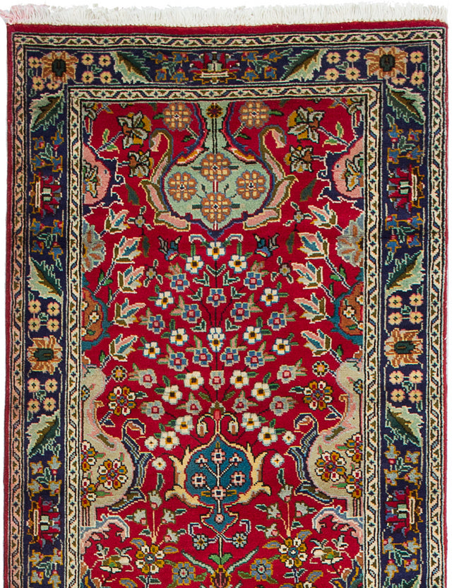 Hand-knotted  Bordered  Traditional Tabriz Runner rug  Red 2.9 x 13.2