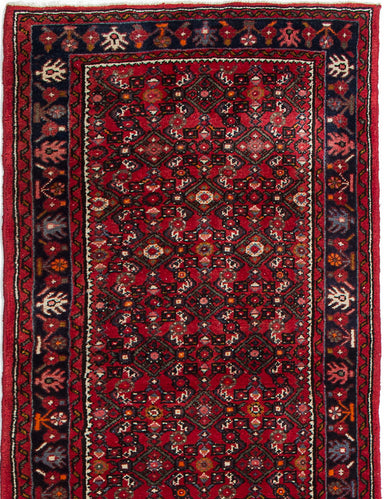Hand-knotted  Bordered  Traditional Hosseinabad Runner rug  Red 2.1 x 13.1