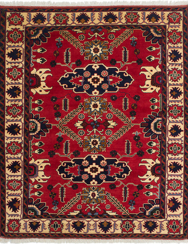 Hand-knotted Afghan Bordered  Geometric Finest-Kargahi Area rug  Red 6.6 x 5.3