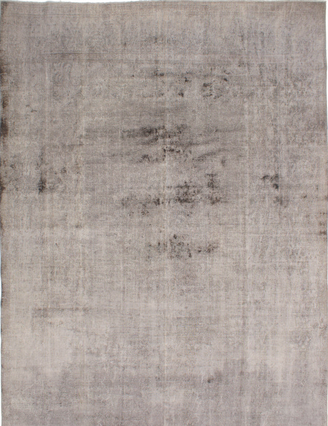 Hand-knotted Turkish Overdyed  Solid Color-Transition Area rug  Grey 9.9 x 13.2