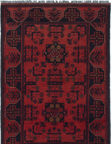 Hand-knotted Afghan Bordered  Tribal Finest-Khal-Mohammadi Area rug  Red 3.3 x 4.11