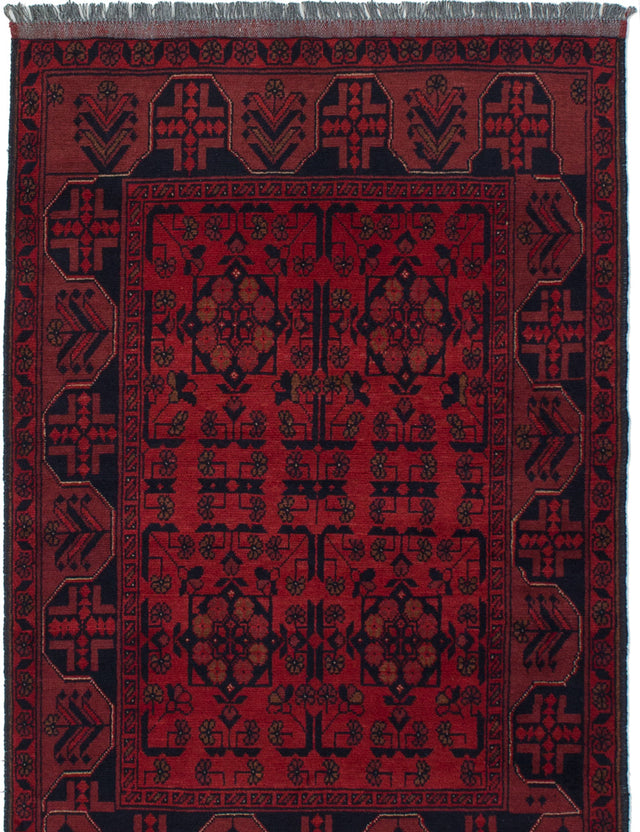 Hand-knotted Afghan Bordered  Tribal Finest-Khal-Mohammadi Area rug  Red 3.3 x 5