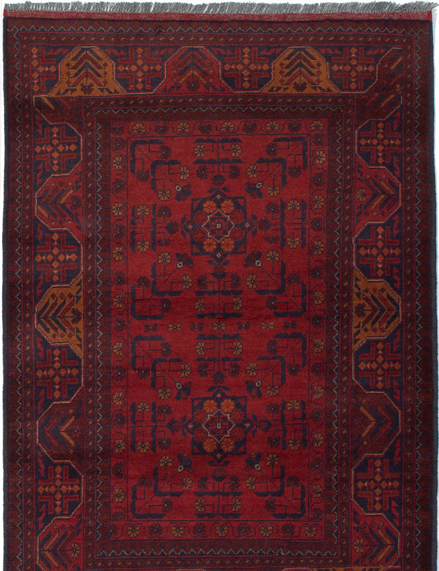 Hand-knotted Afghan Bordered  Tribal Finest-Khal-Mohammadi Area rug  Red 3.3 x 4.1