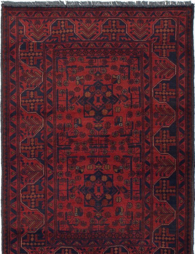 Hand-knotted Afghan Bordered  Tribal Finest-Khal-Mohammadi Area rug  Red 3.3 x 4.9