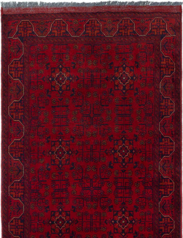 Hand-knotted Afghan Bordered  Tribal Finest-Khal-Mohammadi Area rug  Red 3.4 x 5.2