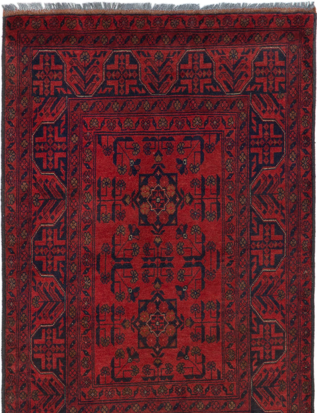 Hand-knotted Afghan Bordered  Tribal Finest-Khal-Mohammadi Area rug  Red 3.4 x 5.3