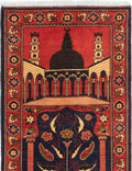 Hand-knotted Afghan Bordered  Traditional Finest-Kargahi Area rug  Dark Copper 2.8 x 4.3