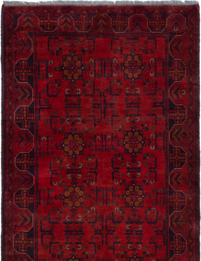 Hand-knotted Afghan Bordered  Tribal Finest-Khal-Mohammadi Area rug  Red 3.11 x 6.1