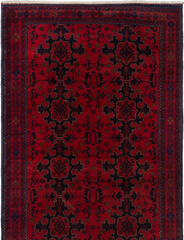 Hand-knotted Afghan Bordered  Tribal Finest-Khal-Mohammadi Area rug  Red 4.1 x 6.5