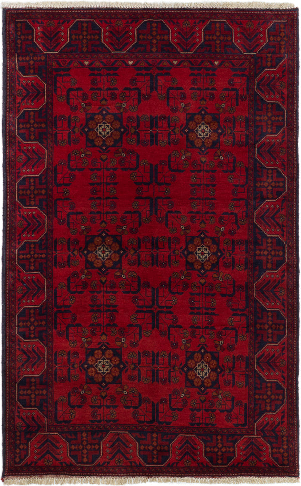 Hand-knotted Afghan Bordered  Tribal Finest-Khal-Mohammadi Area rug  Red 3.1 x 6.4