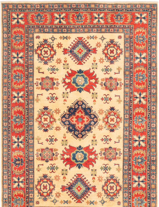 Hand-knotted Afghan Bordered  Traditional Finest-Gazni Area rug  Ivory, Red 6 x 9