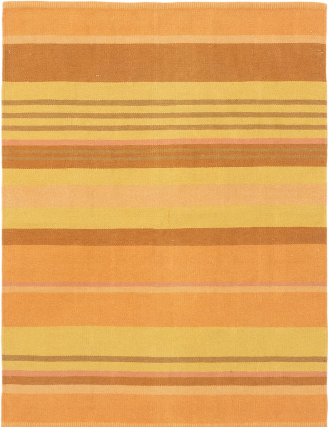 Flat-weave Indian Flat-weaves & Kilims  Transitional Tribal-Gabbeh Area rug  Copper, Light Gold 5 x 6.6