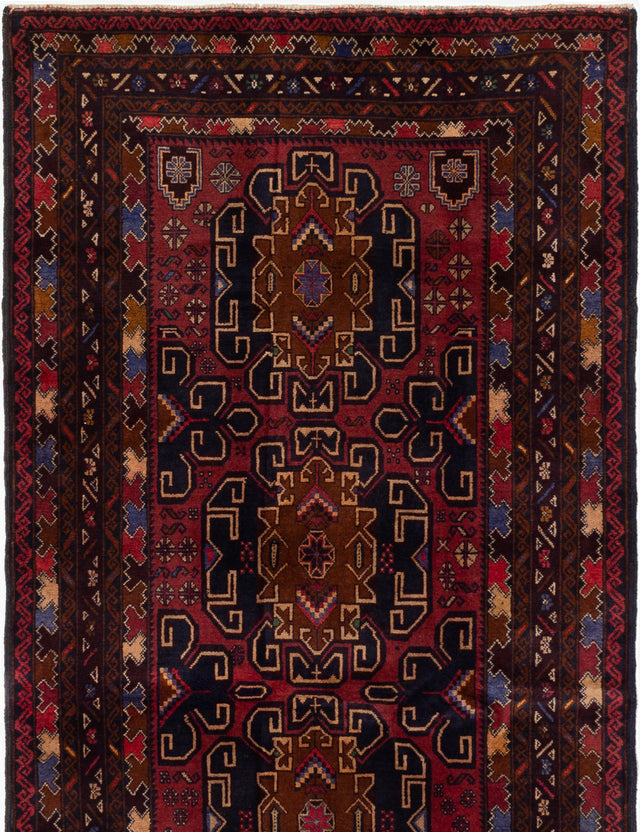 Hand-knotted Afghan Bordered  Tribal Royal-Baluch Area rug  Red 3.7 x 6.5
