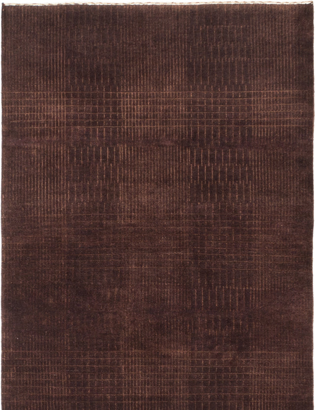 Hand-knotted Indian Solid  Transitional Luribaft-Gabbeh-Riz Area rug  Dark Brown 4 x 6