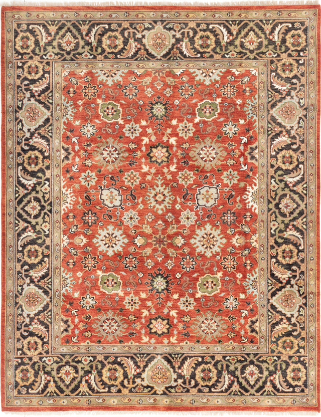Hand-knotted Indian Bordered  Traditional Serapi-Heritage Area rug  Dark Copper 8 x 10