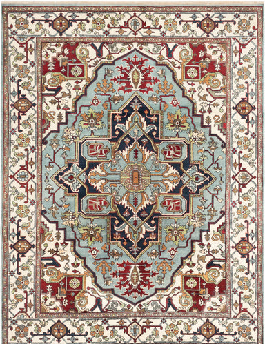 Hand-knotted Indian Bordered  Traditional Serapi-Heritage Area rug  Light Blue  8.1 x 11.8