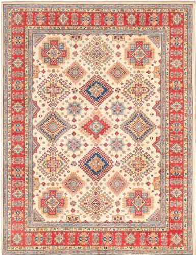 Hand-knotted Afghan Bordered  Traditional Finest-Gazni Area rug  Cream 9 x 11.9