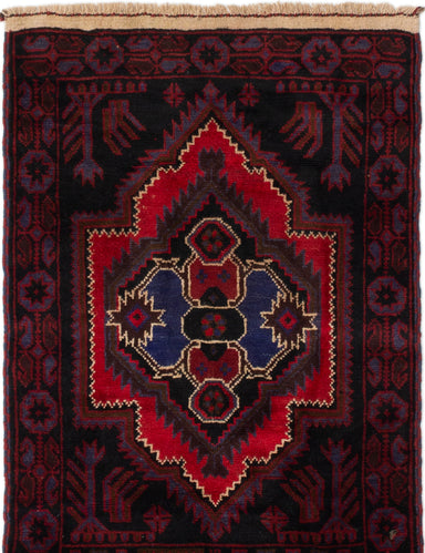 Hand-knotted Afghan Bordered  Tribal Baluch Area rug  Black, Red 2.1 x 4.1