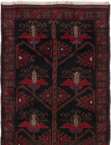 Hand-knotted Afghan Bordered  Tribal Baluch Area rug  Black 2.1 x 4.5