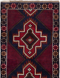 Hand-knotted Afghan Bordered  Tribal Kazak Area rug  Dark Navy, Dark Red 2.7 x 4.6