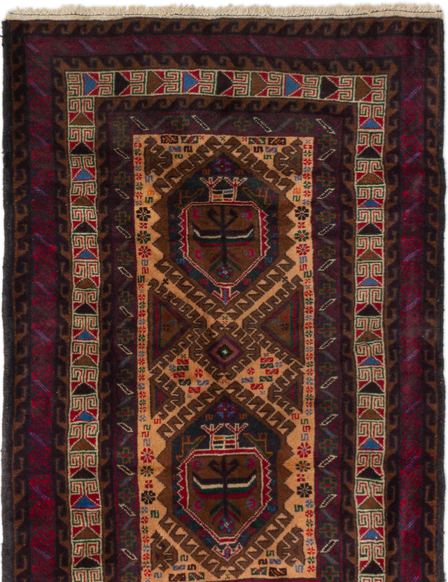 Hand-knotted Afghan Bordered  Tribal Kazak Area rug  Dark Red 2.1 x 4.7