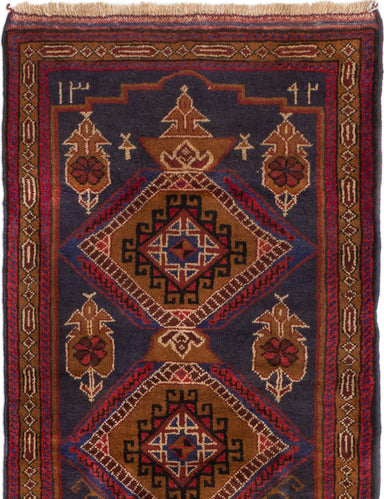 Hand-knotted Afghan Bordered  Tribal Kazak Area rug  Dark Navy, Red 2.9 x 4.6