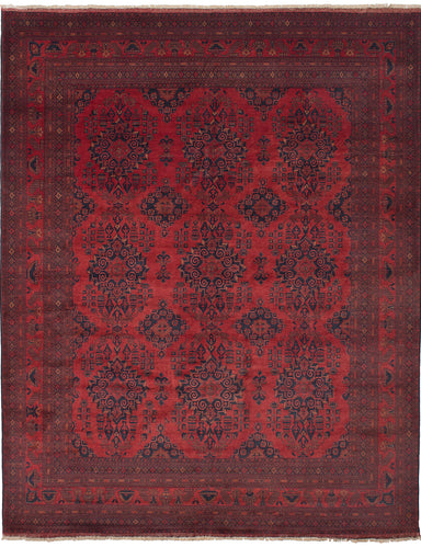 Hand-knotted Afghan Bordered  Tribal Finest-Khal-Mohammadi Area rug  Red 10.2 x 12.8