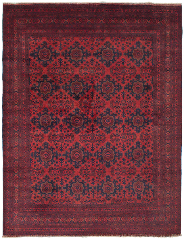 Hand-knotted Afghan Bordered  Tribal Finest-Khal-Mohammadi Area rug  Red 10 x 12.1