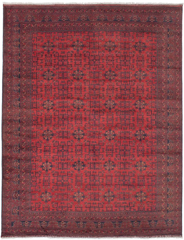Hand-knotted Afghan Bordered  Tribal Finest-Khal-Mohammadi Area rug  Red 8.6 x 11