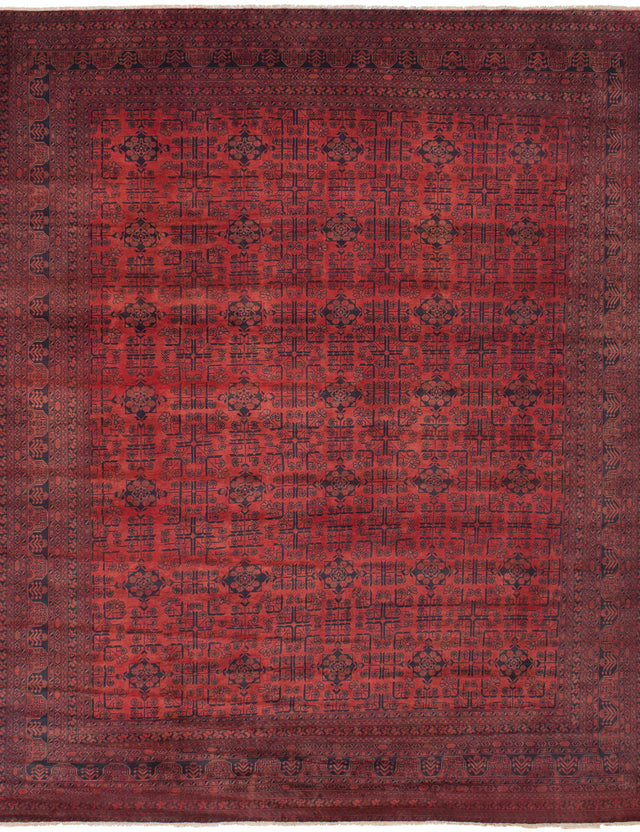 Hand-knotted Afghan Bordered  Tribal Finest-Khal-Mohammadi Area rug  Red 9.11 x 12.7