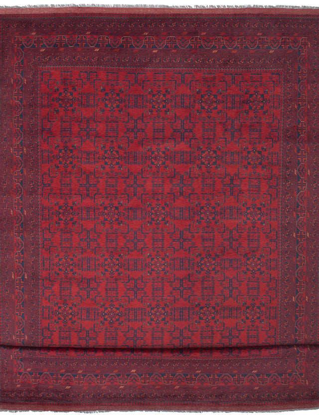 Hand-knotted Afghan Bordered  Tribal Finest-Khal-Mohammadi Area rug  Red 9.11 x 16.2