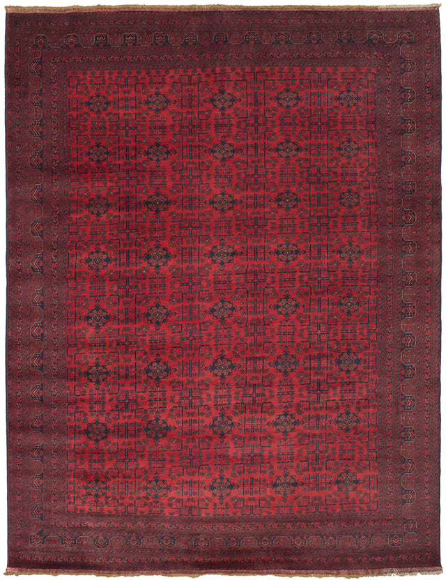 Hand-knotted Afghan Bordered  Tribal Finest-Khal-Mohammadi Area rug  Red 9.6 x 12.7